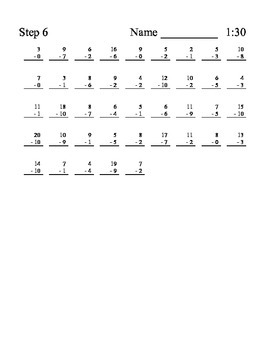 Daily leveled math subtraction fact practice sheets