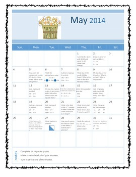 Daily math calendars: Harcourt Spiral review (for March, April & May)