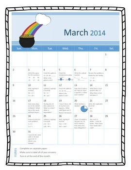 Daily math calendars: Harcourt Spiral review (for March, A