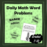 Daily Math Word Problems (Bell ringers) for MARCH