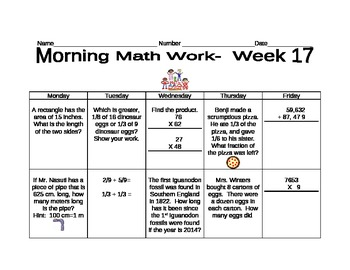 Daily morning math work- weeks 17-36