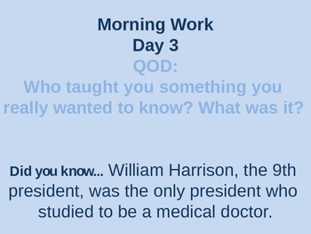 Quarter 2: Question of the Day plus daily fun fact