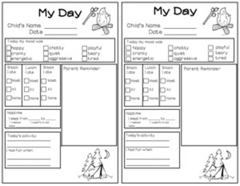Daily note- Preschool Camping theme