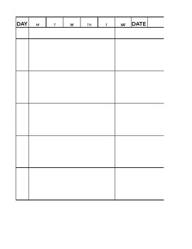 Daily planner sheet undated for 2 students, black/white