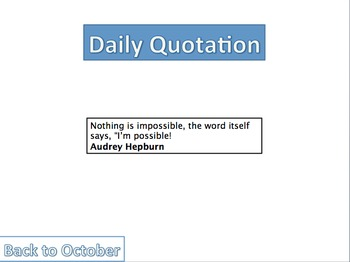 Daily quotation motivational calendar -Can be reused every year