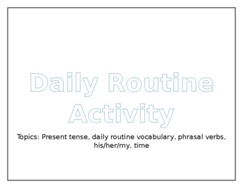 Daily routine Activity - Speaking (English)