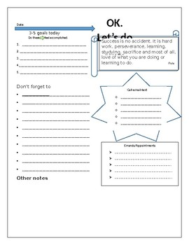 Daily to do graphic organizer