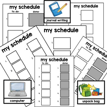 Daily visual schedule classroom. Autism, auditory processing delays.