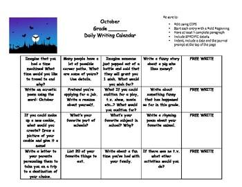Daily writing calendar pack! Grades 2,3,4