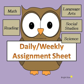 Daily/Weekly Assignment Sheet
