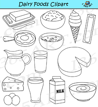 Dairy Foods Clipart Graphics for Commercial-Use
