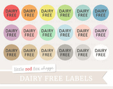 Dairy Free Label Clipart; Food Allergy, Nutrition