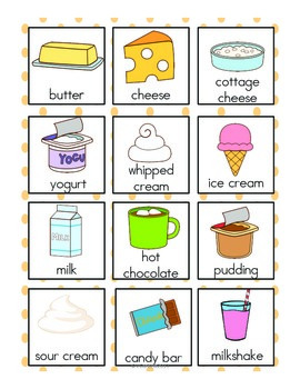 Dairy Vocabulary Cards