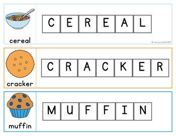 Dairy and Grains Word Letter Tiles Cards