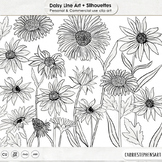 Daisies, PNG Digital Stamps, Daisy Flower Line Art & Floral Silhouette