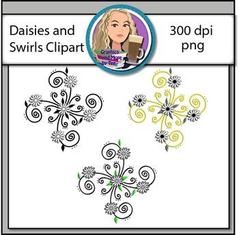 Daisies and Swirls Clipart