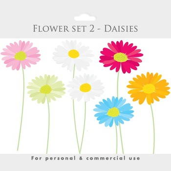 Daisies clipart - flower clip art, blooms, posies, flowers, floral clipart, pink