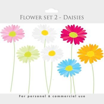 Daisies clipart - flower clip art, blooms, posies, flowers