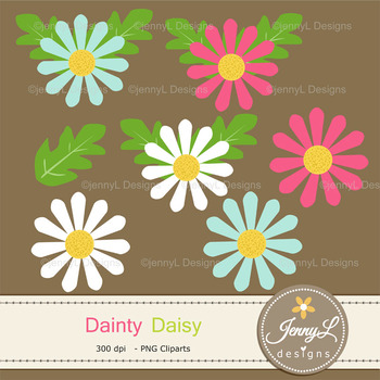Daisy Flowers Digital papers and clipart