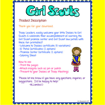 Daisy Girl Scouts Certificates