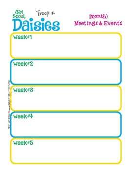 Daisy Monthly Activity Calendar Girl Scouts Editable Printable PDF Template