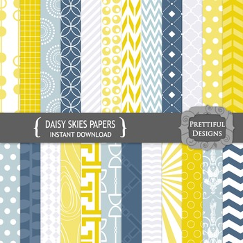Daisy Skies Digital Papers in Navy and Mustard Patterns and Backgrounds