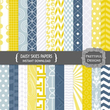 Daisy Skies Digital Papers in Navy and Mustard Patterns an