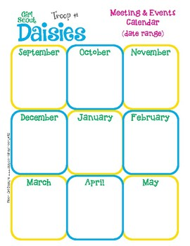 daisy yearly calendar girl scouts editable printable pdf template