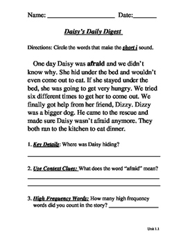 Daisy's Daily Digest Unit 1, Week 1 a