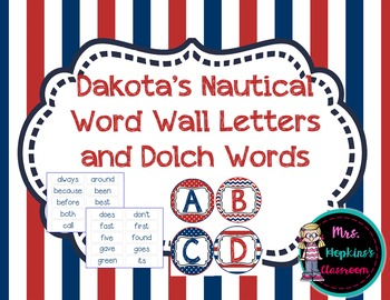 Dakota's Nautical Word Wall and 2nd Grade Dolch Sight Words