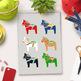 Dala Horse Clipart, Christmas Clipart, Scandinavian Clipart, Swedish Clipart