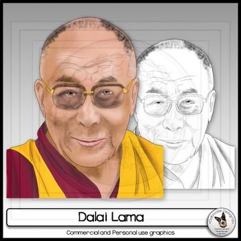 Dalai Lama Clip Art Realistic Portrait