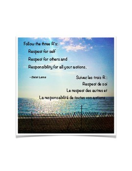 Dalai Lama Quote - The Three Rs - French and English