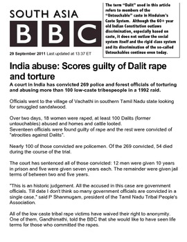 Dalit/Untouchable Abuse Current Events Article Hinduism