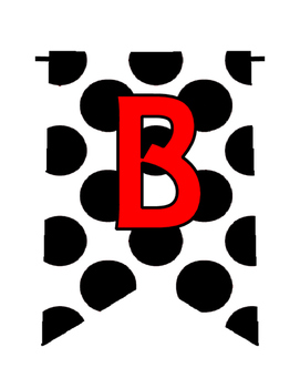 Dalmation Spots Alphabet/Number/Characters Pennants Bunting (White/Black)