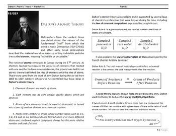 Dalton's Atomic Theory ~ Worksheet (L4, Part 1)