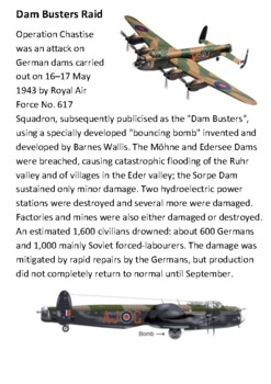 Dam Busters Raid Handout with activities