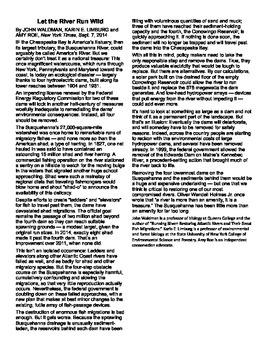 Dam Removal Op-Ed, reading comprehension quiz