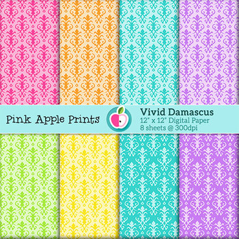 Fresh Springtime Damascus Pattern Digital Papers Set: Graphics for Teachers