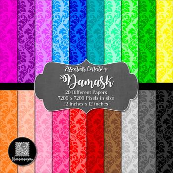 12x12 Digital Paper - Essentials: Damask