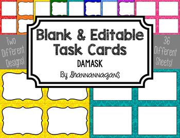 Blank Task Cards - Basics: Damask | Editable PowerPoint