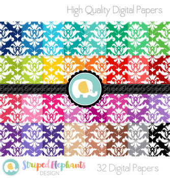 Damask Bright Digital Papers