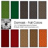 Damask Digital Backgrounds - Fall Colors