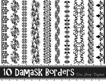 Damask Digital Border Clip Art Flourish Swirl Border Clip Art Black Lace Border