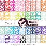 Damask Digital Paper, Background Pattern, Scrapbook Paper