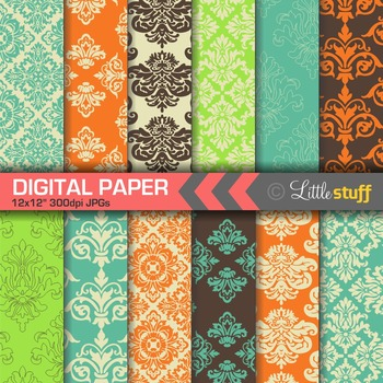 Damask Digital Paper Backgrounds, Bright Colors