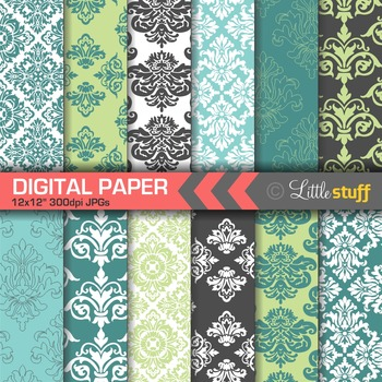 Damask Digital Paper Backgrounds, Turquoise, Green and Peacock Blue