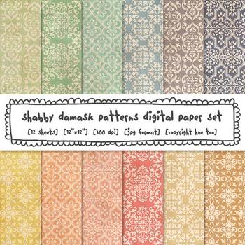 Damask Digital Paper, Grunge Pastel Colors Damask Backgrou