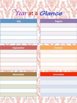 Damask Lesson Plan and Calendar Book {Fully Editable}