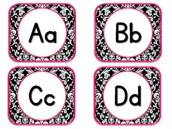 Damask Letter Cards. ABCs. Alphabet Signs.  Black, White and Pink